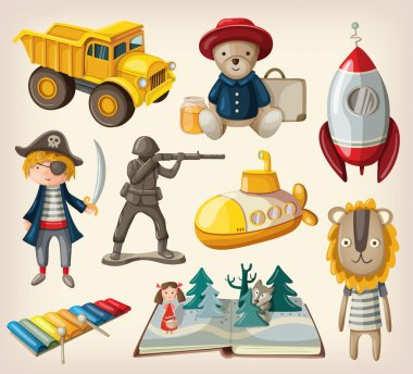 Set of old-fashioned toys
