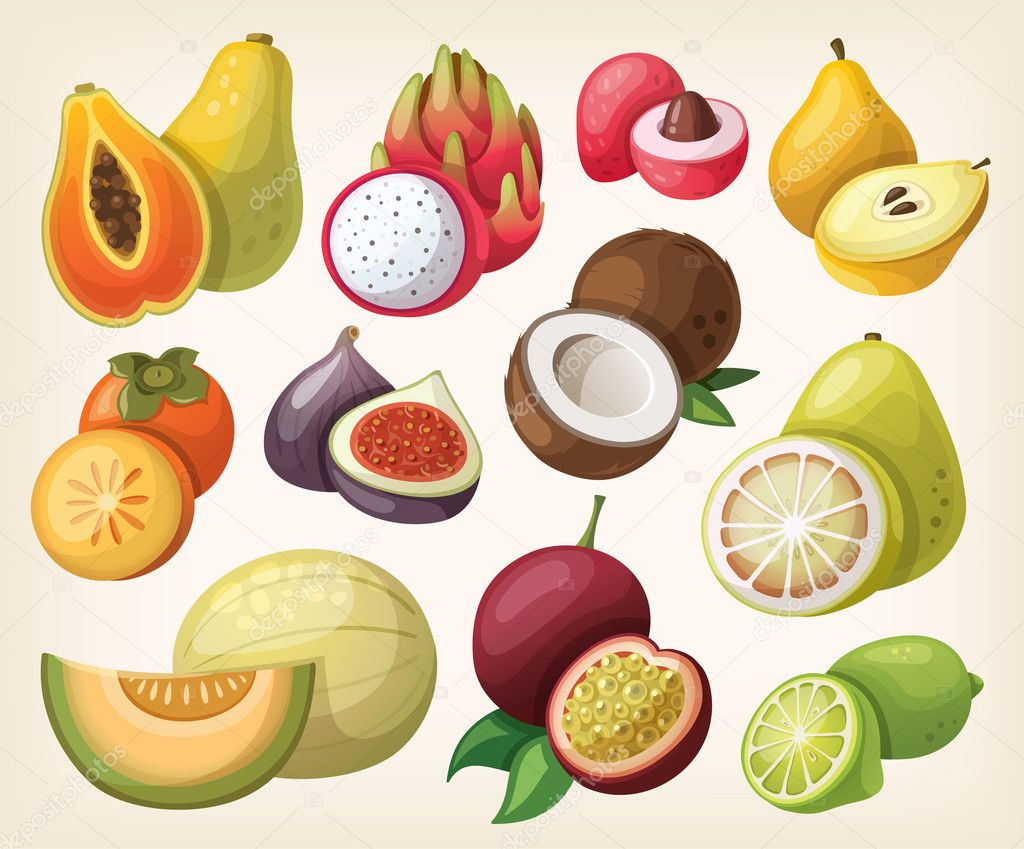Set of exotic fruit