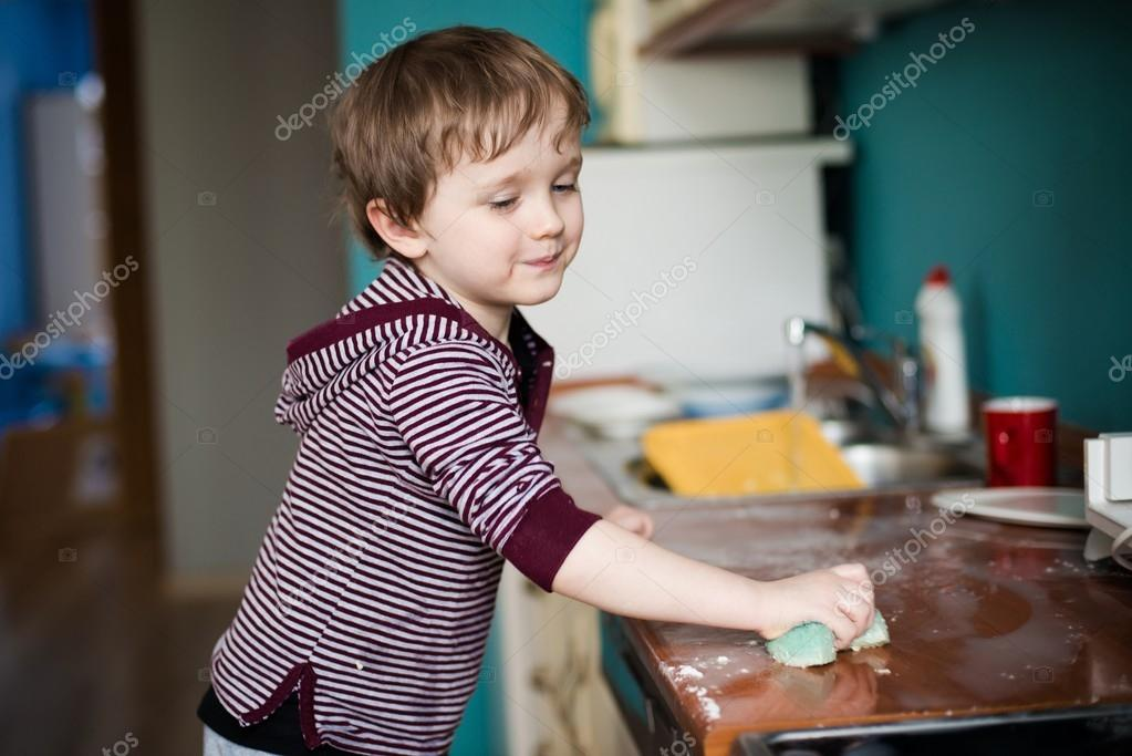 children cleaning house