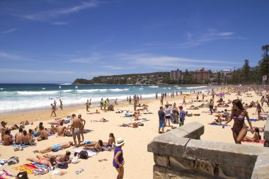 MANLY, AUSTALIA-DECEMBER 08 2013: Manly beach on busy, sunny day