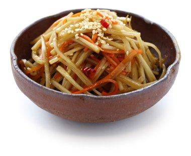 Kinpira gobo, sauteed greater burdock root and carrot, japanese cuisine