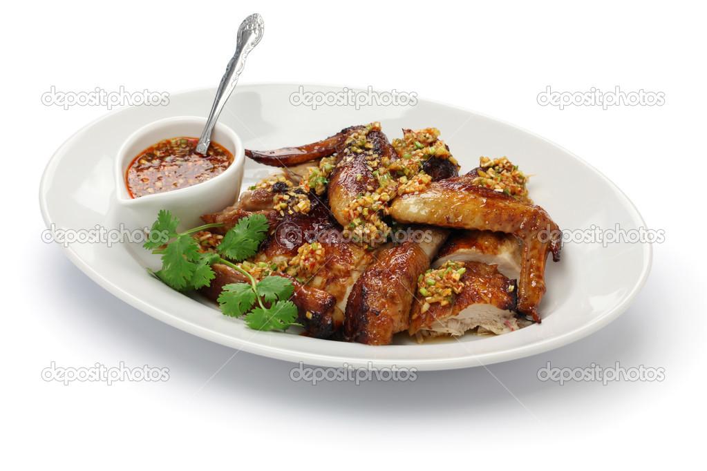 Wrzącym Olejem Parzony Młody Kurczak Kuchnia Chińska