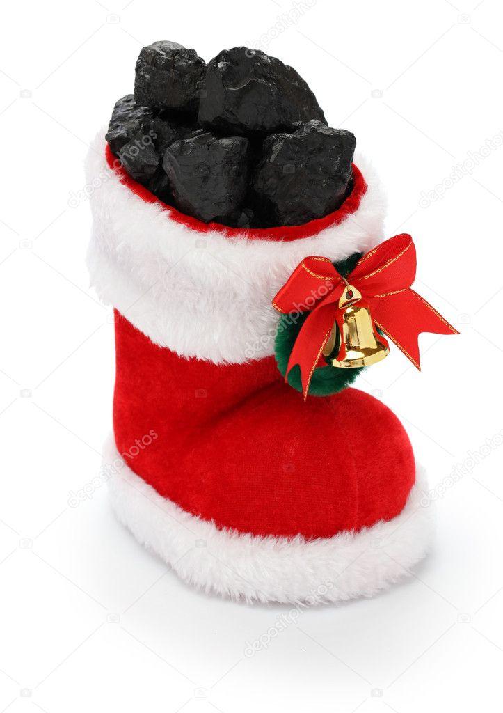 Christmas stocking full of coal — Stock Photo © asimojet #38009689