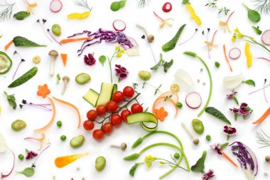 Assortment fresh vegetables on white background, healthy eating concept