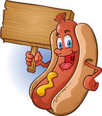 hot dog kreslený drží