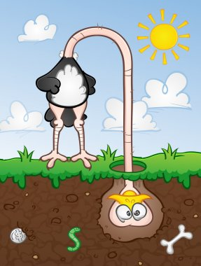 A large ostrich bird with his head buried in the sandy dirt due to fear or anxiety. stock vector