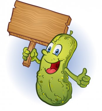Smiling Pickle Cartoon Character giving Thumbs Up and Holding a Wooden Sign