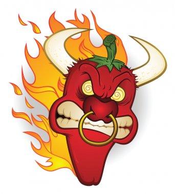 Raging Bull Chili Pepper Cartoon Character