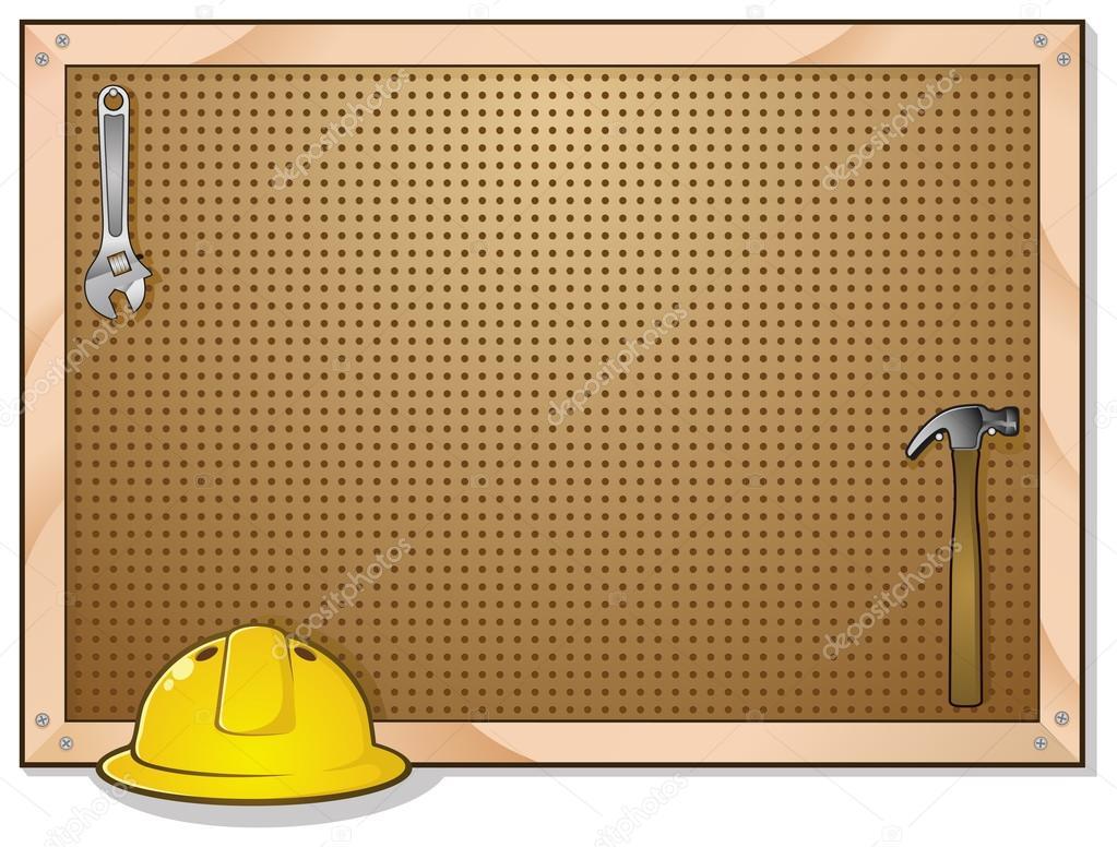 Dibujos animados de junta de peg con sombrero duro y - Tablero para herramientas ...