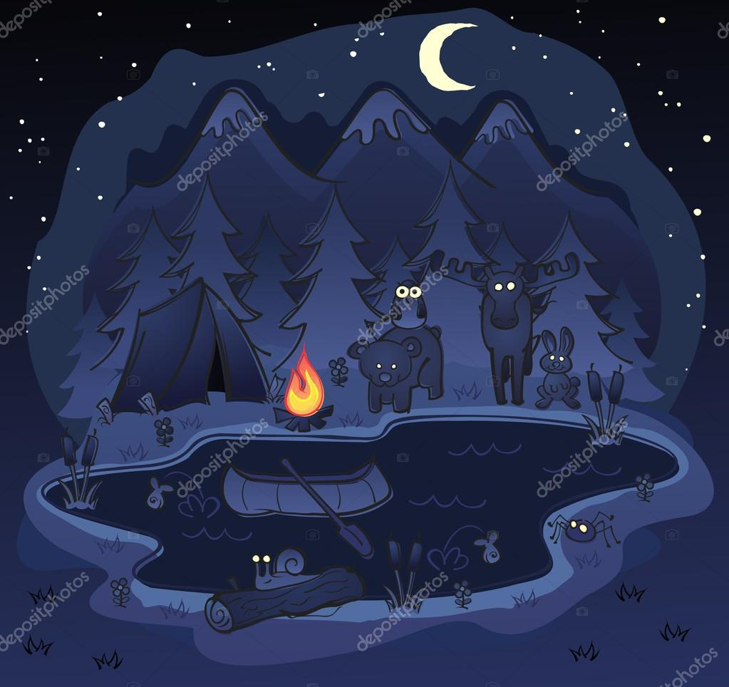 A Fun Camping Scene At Night With Tent And Forest Animals In The Dark Glowing Eyes Vector By Aoshlick