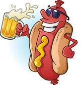 Fotografie Hot-Dog-Cartoon, Sonnenbrille und Bier trinken