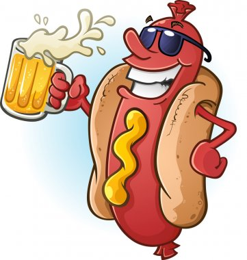 Hot Dog Cartoon Wearing Sunglasses and Drinking Beer