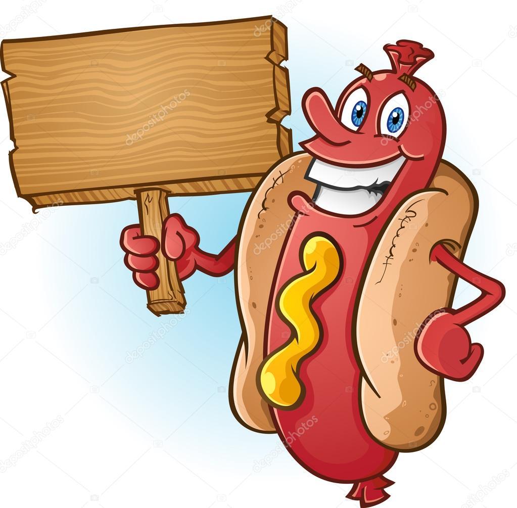 Cartone animato di hot dog con un cartello in legno bianco