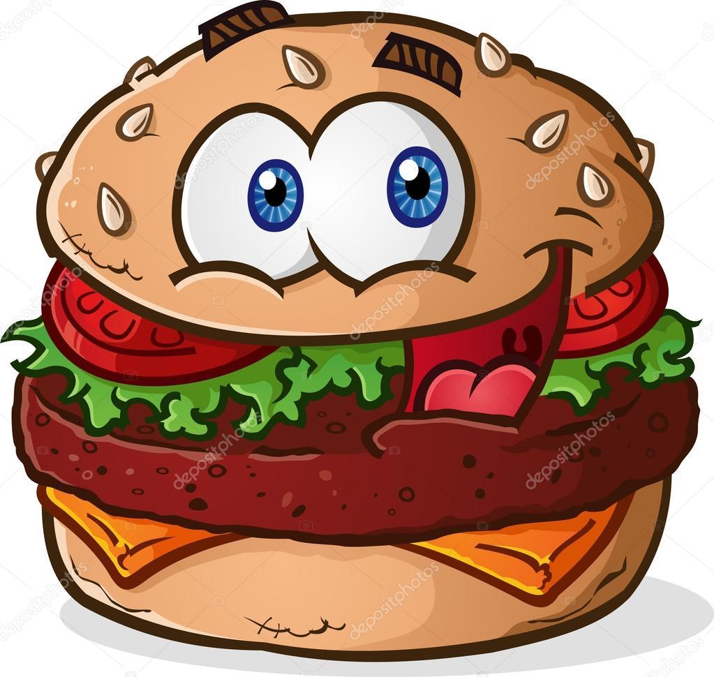 Cartone animato di cheeseburger hamburger — vettoriali