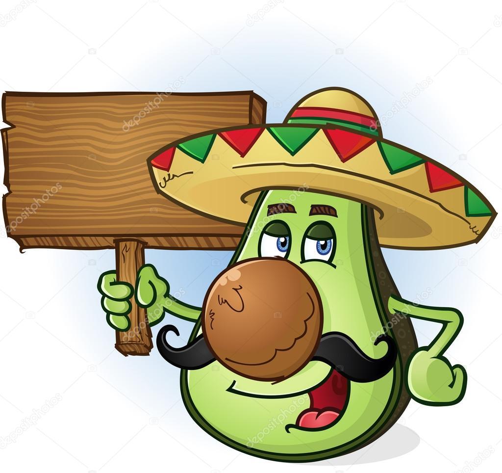 Avocado messicano cartone animato un cartello in legno