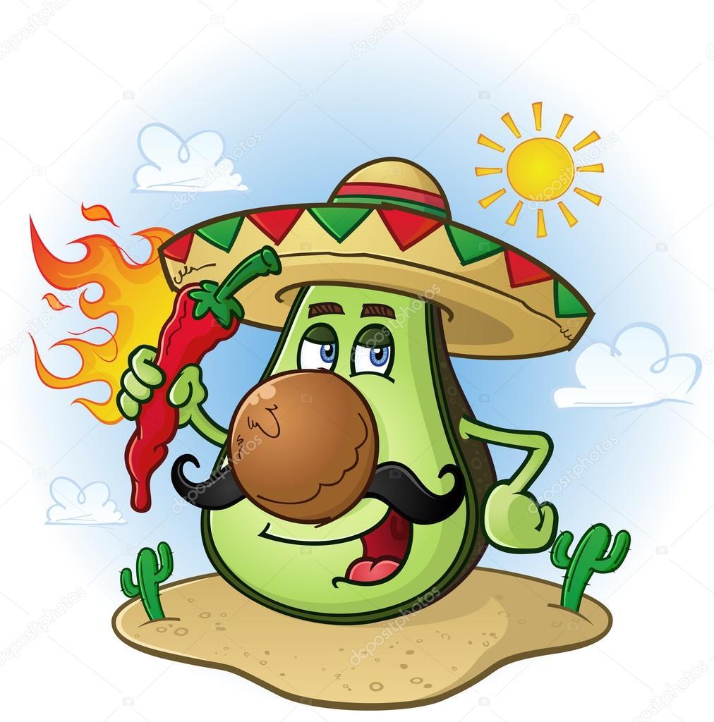 Avocado messicano cartone animato un peperoncino holding