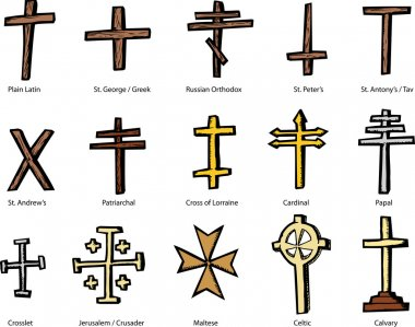 Set of historically accurate crosses representing various Christian churches stock vector