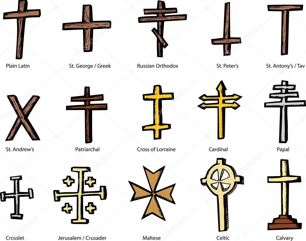 Various Christian Crucifix Designs Stock Vector Theblackrhino