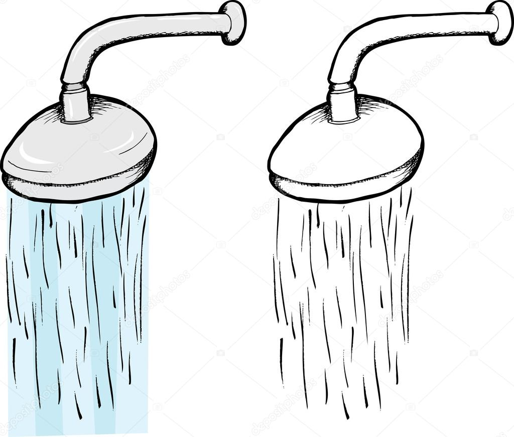 shower head clip art. Showerhead With Water \u2014 Stock Vector Shower Head Clip Art F