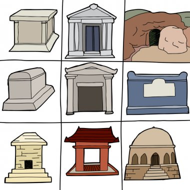 Hand drawn tombs and mausoleums on white background stock vector