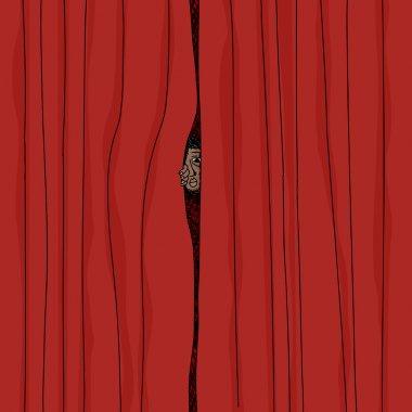 Peeking From Curtain