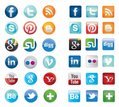 Simple flat social media network icons collection set in round and square design.Vector illustration buttons