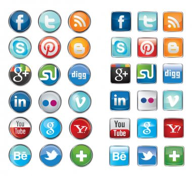 Simple social media network icons collection set in round and square design.Vector illustration buttons