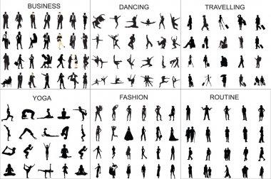 People black silhouette girl and man  vector illustration design set.