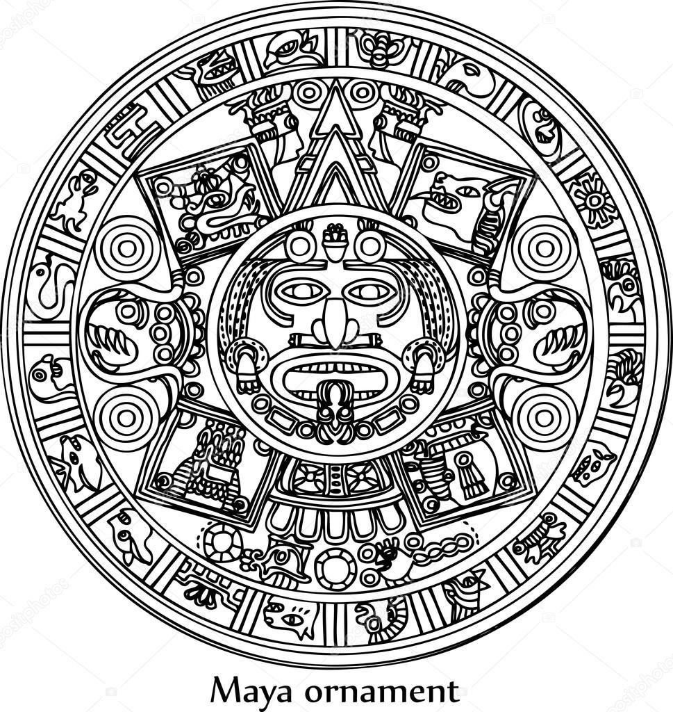mayan symbols coloring pages - photo#10