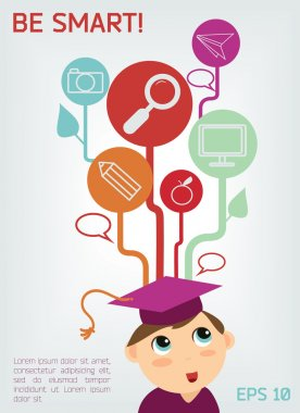 Banner of cute thinking child in mortar board