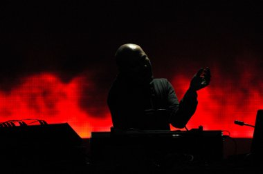 DJ Paul Kalkbrenner from Berlin, Germany mixing live on the stage at the Peninsula, Felsziget Music Festival