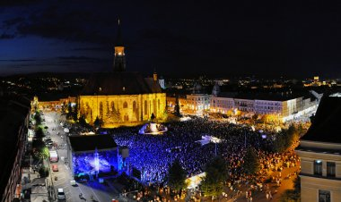 Crowded square above during a live concert