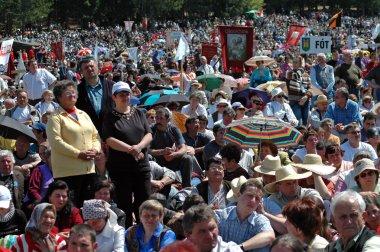Szekler Hungarian catholic pilgrims celebrating the Pentecost
