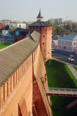 Beautiful Kremlin tower and wall in Kolomna, Moscow region, Russia.