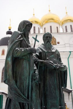 Monument to Cyril and Methodius in Dmitrov, Russia.