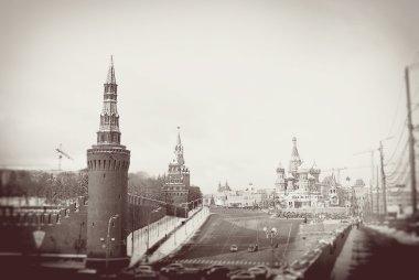 Moscow Kremlin in winter. Vintage stype sepia photo.