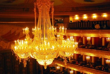 Beautiful chandelier in vintage style. Bolshoy theater historic building interior.
