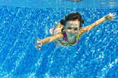 Happy active child swims underwater in pool