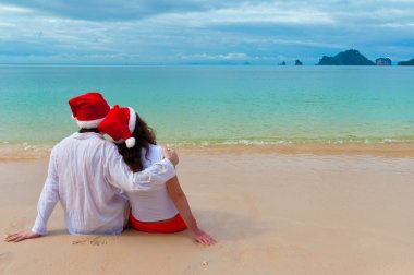 Christmas tropical vacation, happy couple on holiday