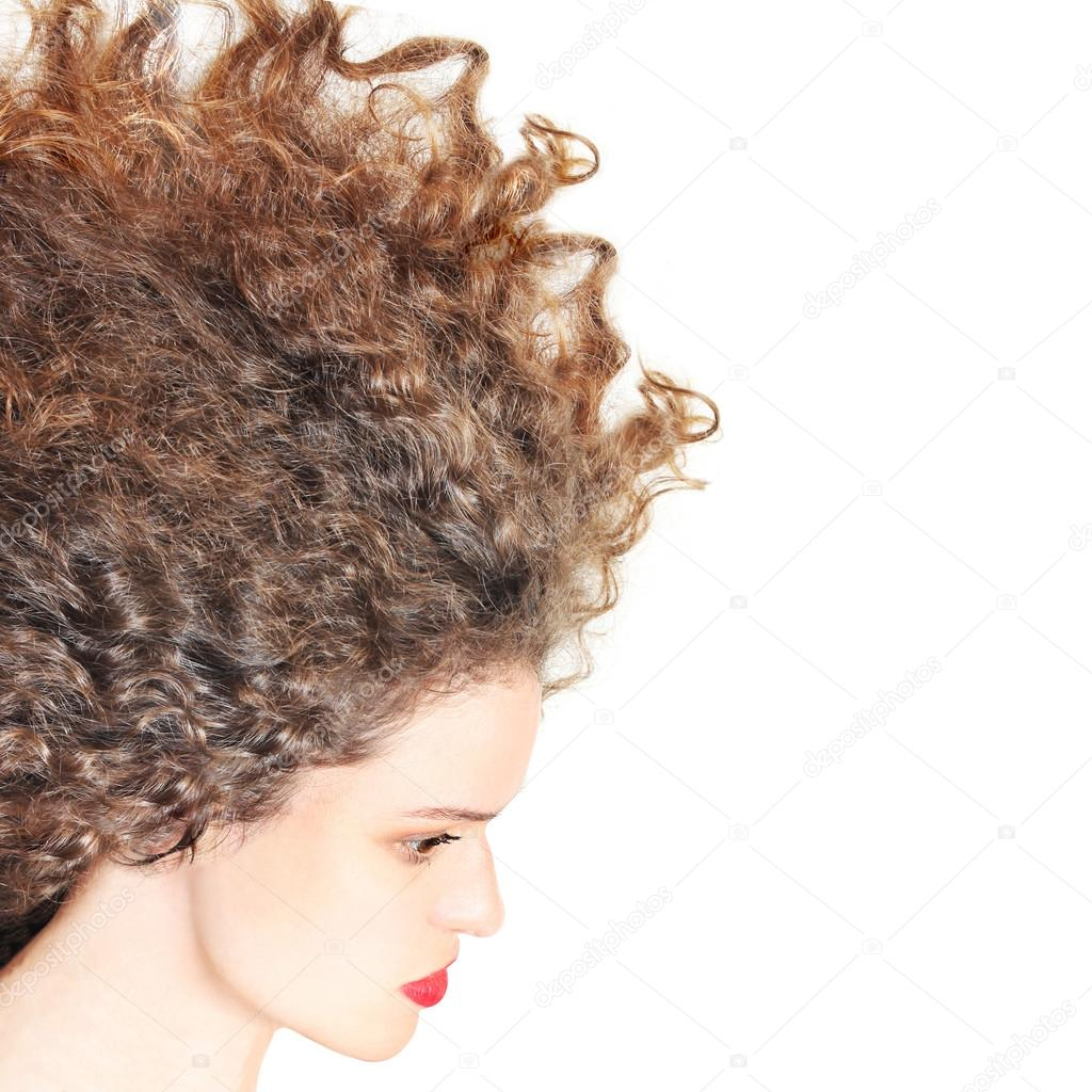 Frisur Lockige Haare Frau Brünette Stockfoto Alenavlad 12142892