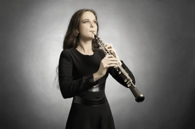 Classical musician oboe playing