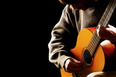 Guitarist musician acoustic guitar playing