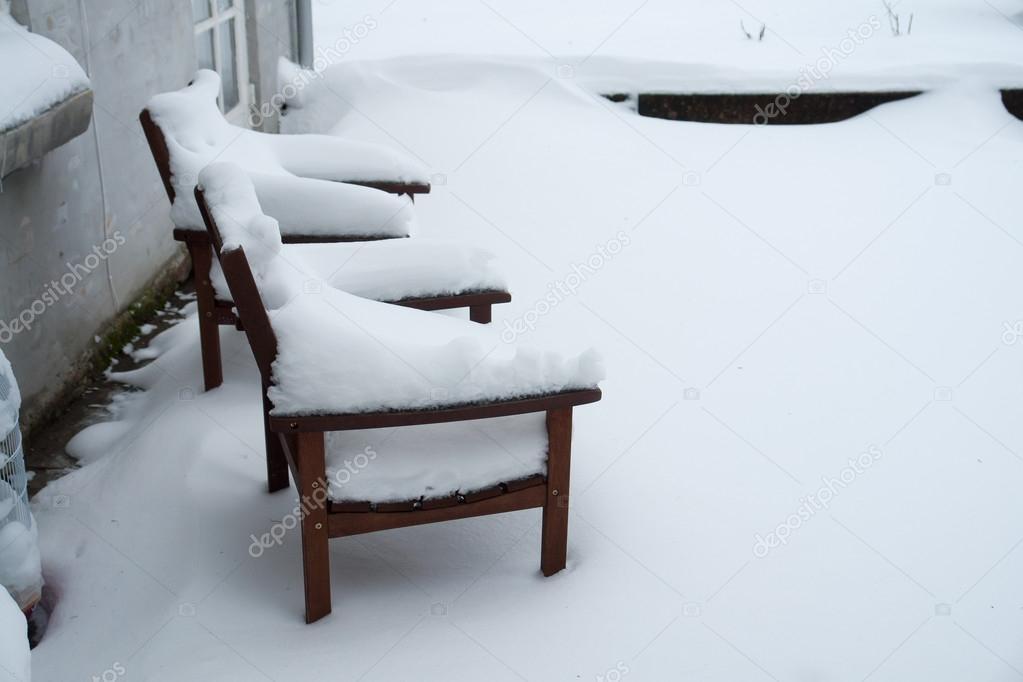 Garden furniture in winter