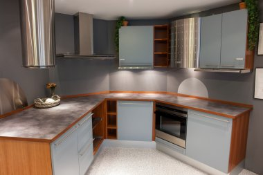 Modern trendy design light blue wooden kitchen