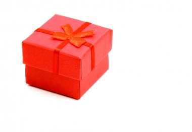 Red gift box isolated on white