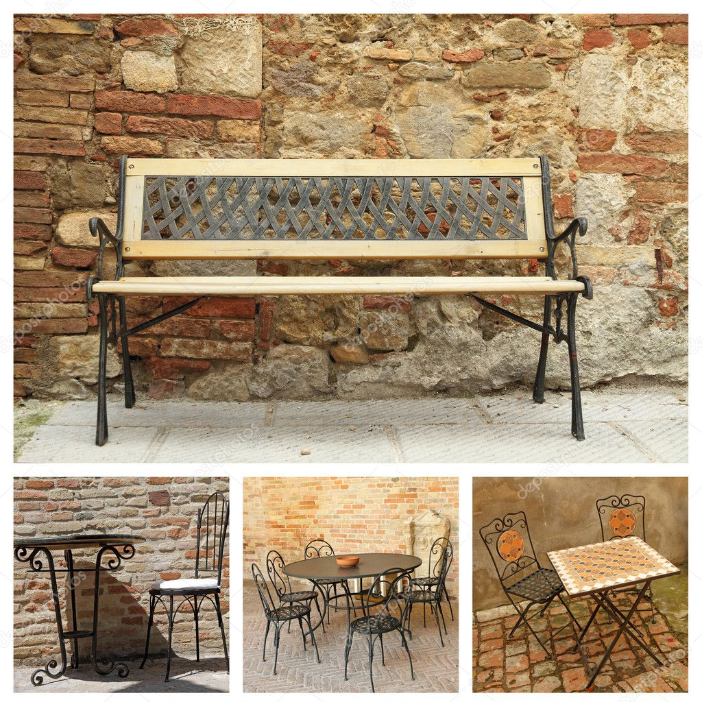 Collage with classic garden furniture — Stock Photo ...