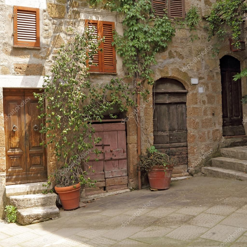 Beautiful Italian Patio In Old Village Pitigliano, Tuscany, Europe U2014 Stock Photo  #20502897