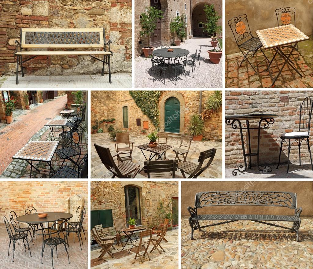 vintage garden furniture collage, Italy, Europe — Stock Photo ...