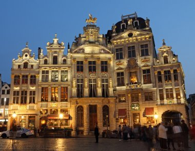 Illuminated guildhalls by night on the Grand Place, Brussels, B