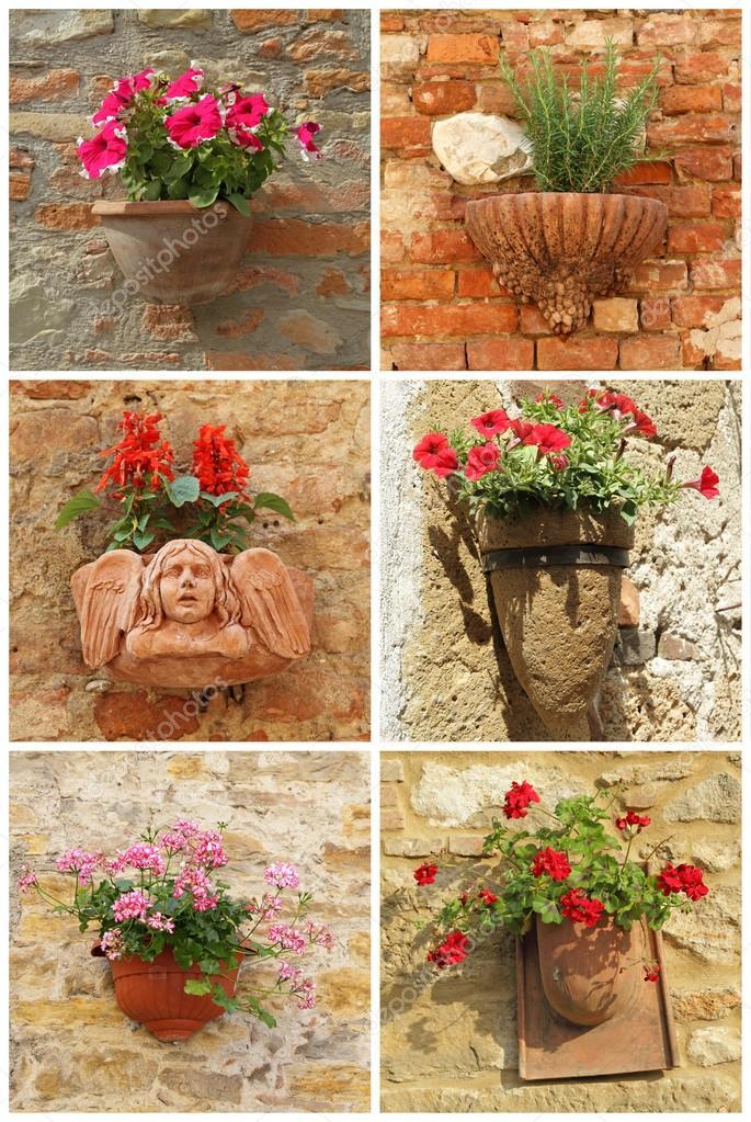 Collage con vasi di terracotta con fiori sul vecchio muro for Vasi in terracotta prezzi